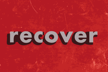 recover: recover vector word on red concrete wall Illustration