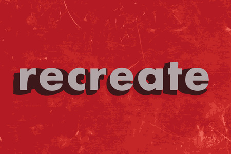recreate: recreate vector word on red concrete wall
