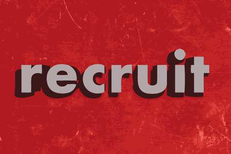 recruit: recruit vector word on red concrete wall