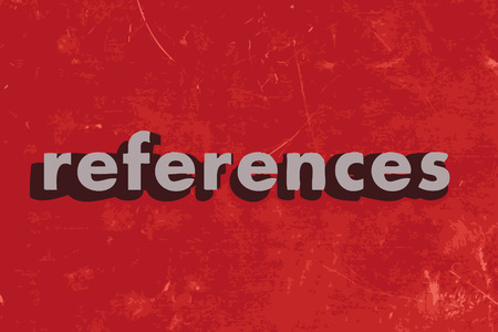 references: references vector word on red concrete wall