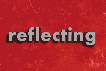 reflecting: reflecting vector word on red concrete wall
