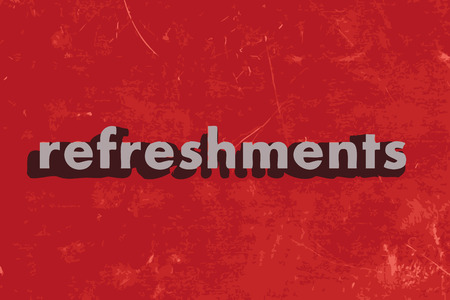 refreshments: refreshments vector word on red concrete wall