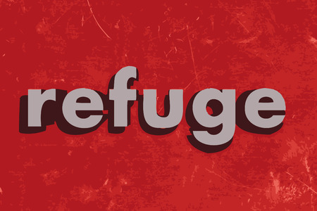 refuge: refuge vector word on red concrete wall Illustration