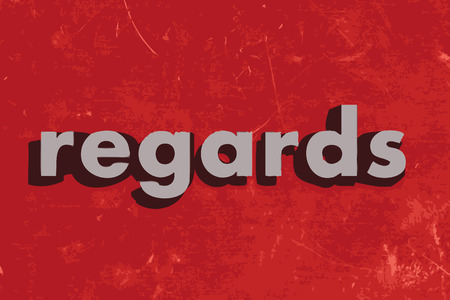 regards: regards vector word on red concrete wall