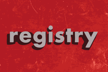 registry: registry vector word on red concrete wall