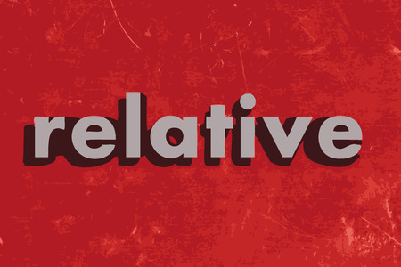 relative: relative vector word on red concrete wall