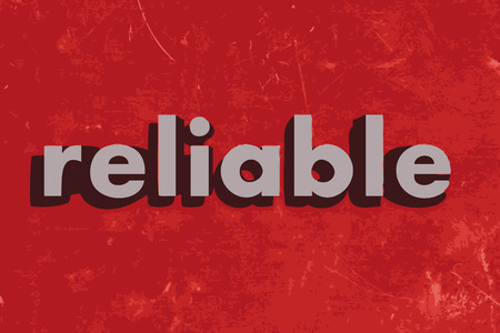 reliable: reliable vector word on red concrete wall Illustration