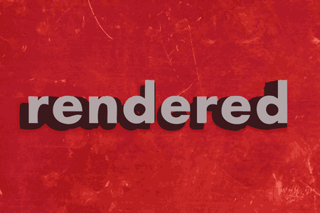 rendered: rendered vector word on red concrete wall