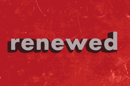 renewed: renewed vector word on red concrete wall