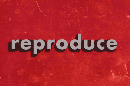 reproduce: reproduce vector word on red concrete wall