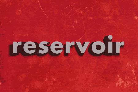 reservoir: reservoir vector word on red concrete wall