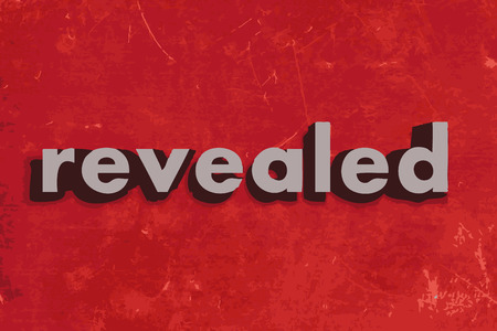 revealed: revealed vector word on red concrete wall