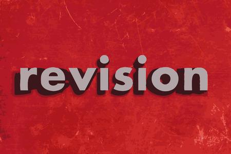 reviser: mot de vecteur de r�vision sur le mur de b�ton rouge