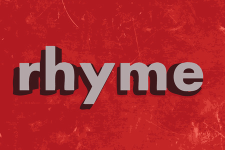 rhyme: rhyme vector word on red concrete wall