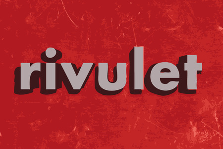 rivulet: rivulet vector word on red concrete wall Illustration
