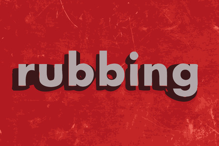 rubbing: rubbing vector word on red concrete wall