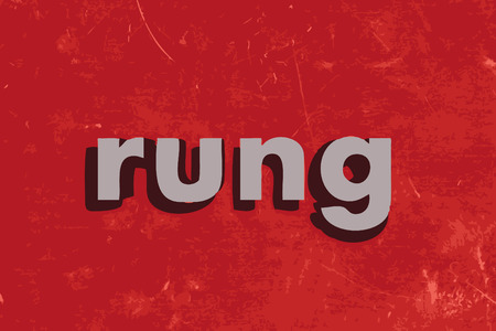 rung: rung vector word on red concrete wall