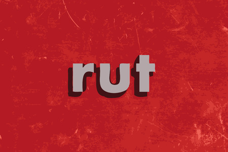 rut: rut vector word on red concrete wall Illustration