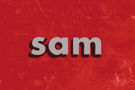 sam: sam vector word on red concrete wall