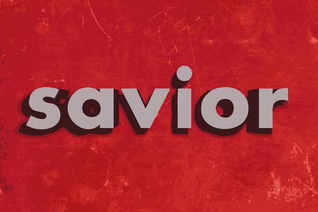 saviour: savior vector word on red concrete wall