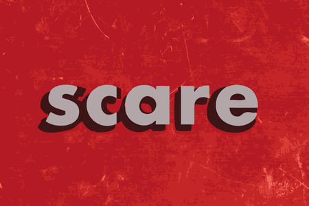 scare: scare vector word on red concrete wall Illustration
