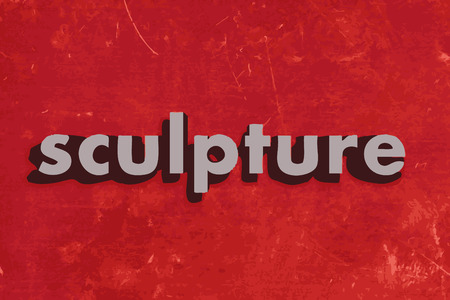 sculpture: sculpture vector word on red concrete wall