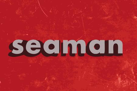 seaman: seaman vector word on red concrete wall
