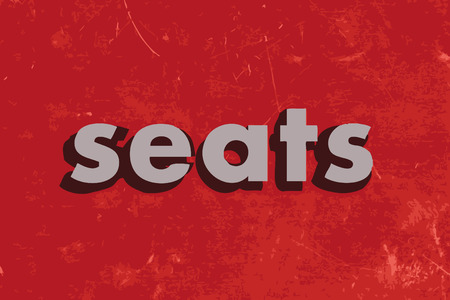 seats: seats vector word on red concrete wall Illustration