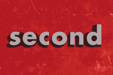 second: second vector word on red concrete wall
