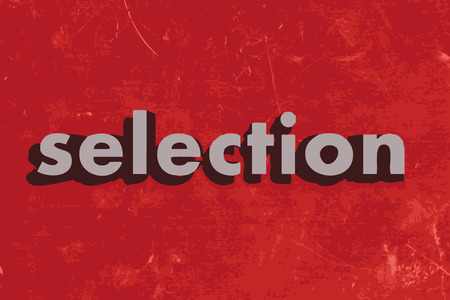 selection vector word on red concrete wall