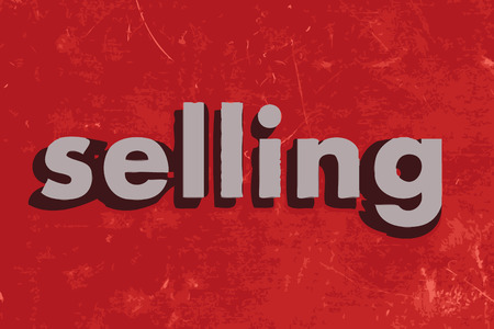 selling vector word on red concrete wall
