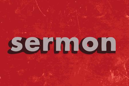 sermon: sermon vector word on red concrete wall