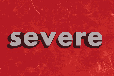 severe: severe vector word on red concrete wall Illustration