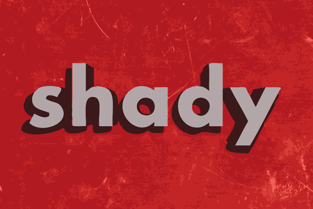 shady: shady vector word on red concrete wall