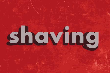 shaving: shaving vector word on red concrete wall
