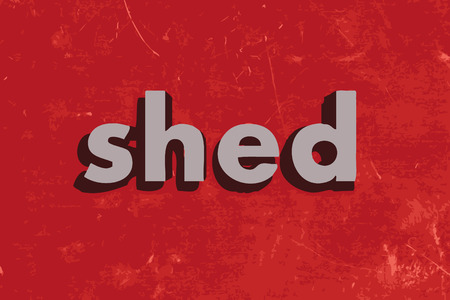 shed: shed vector word on red concrete wall
