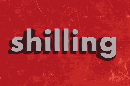 shilling: shilling vector word on red concrete wall