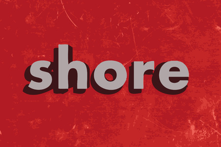 shore: shore vector word on red concrete wall