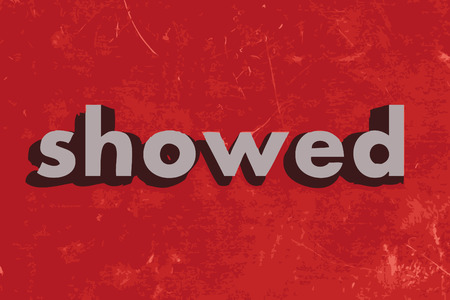 showed: showed vector word on red concrete wall