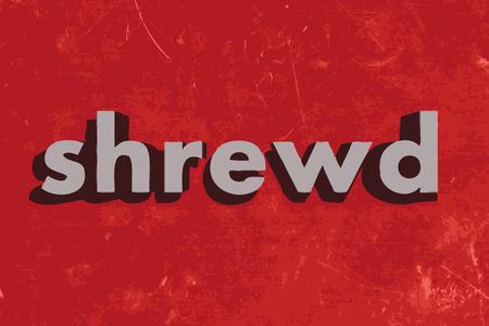 shrewd: shrewd vector word on red concrete wall Illustration