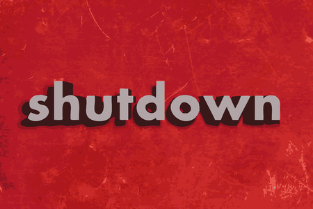 shutdown: shutdown vector word on red concrete wall