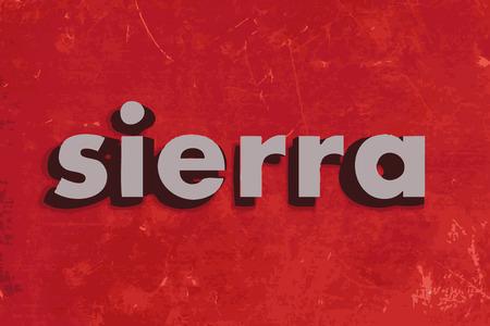 sierra: sierra vector word on red concrete wall