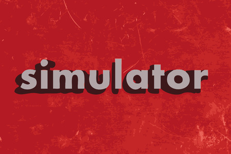 simulator: simulator vector word on red concrete wall