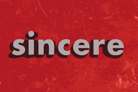 sincere: sincere vector word on red concrete wall