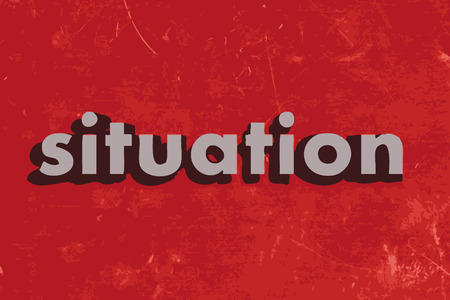 situation: situation vector word on red concrete wall Illustration