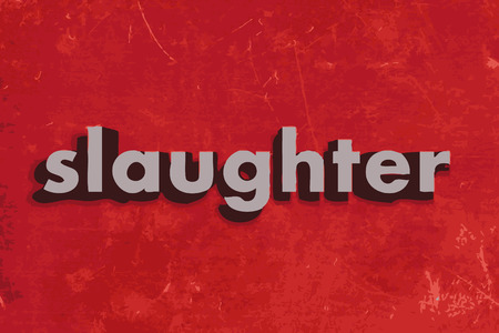 slaughter: slaughter vector word on red concrete wall