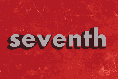 seventh: seventh vector word on red concrete wall
