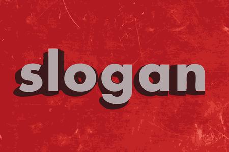 slogan: palabra slogan vector en rojo muro de hormigón