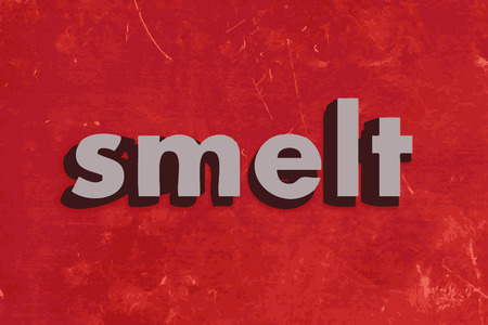 smelt: smelt vector word on red concrete wall Illustration