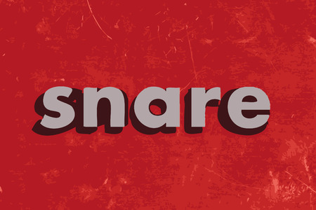 snare: snare vector word on red concrete wall